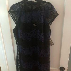 Eva Mendes Dress black & blue lace